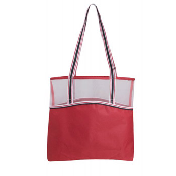 Color Band Tote With Mesh