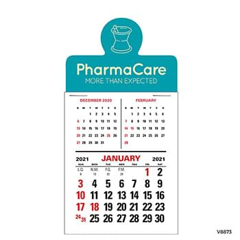Press-N-Stick 3-Month Vertical Calendar  12-Month