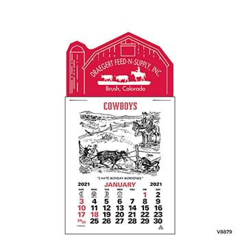 Press-N-Stick Cowboy Calendar  12-Month